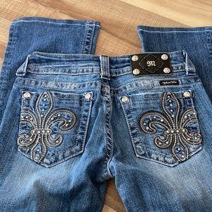 Miss Me Women's 27 Jr Jeans Blue Fleur-de-lis